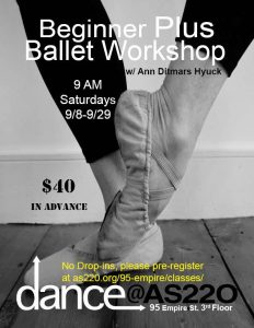 BEGINNER PLUS BALLET WORKSHOP SEPTEMBER 2018