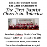 Choir and Orchestra of The First Baptist Church in America Holiday Concert