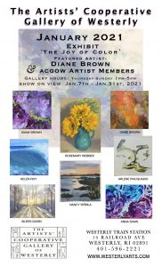 """In January ACGOW asks """"What Color is Joy?"""" Featured Artist Diane Brown January 7– 31st"""