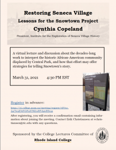 Restoring Seneca Village - Lessons for the Snowtown Project Cynthia Copeland
